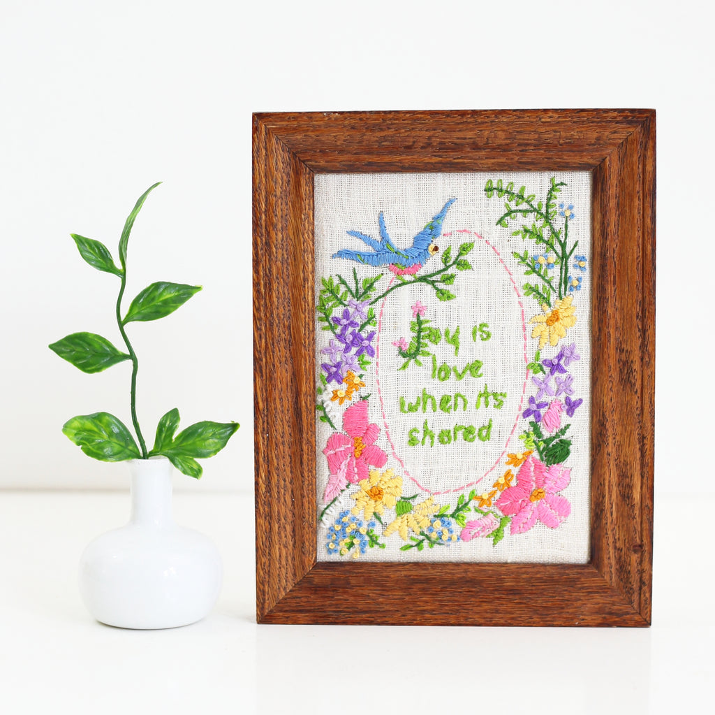 SOLD - Vintage Framed Needlepoint - Joy is Love When It's Shared