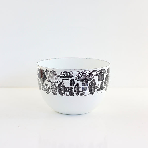 SOLD - Mid Century Enamel Mushrooms Bowl by Kaj Franck for Arabia of Finland