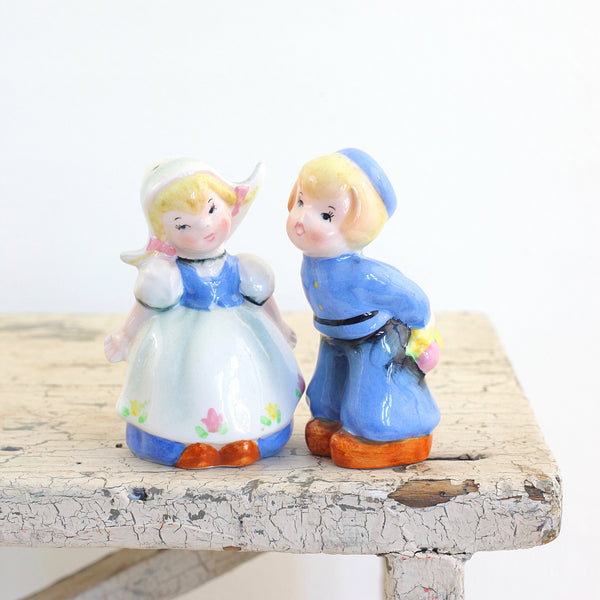 Vintage Lefton Dutch Boy & Girl Salt & Pepper Shaker Set
