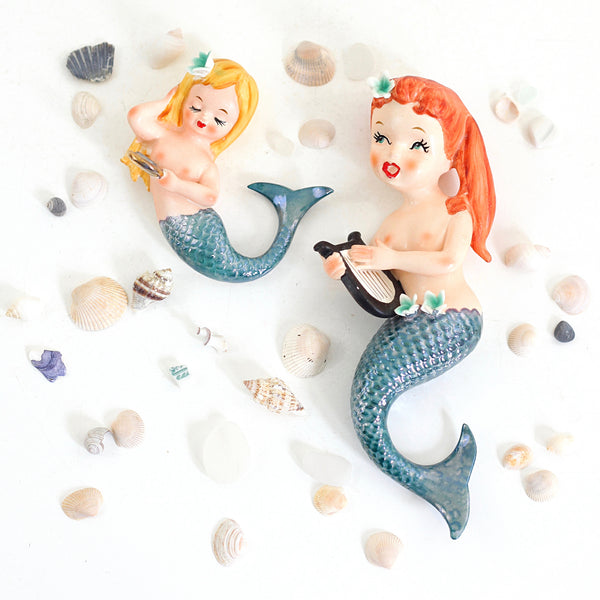 Rare Vintage 1950s Lefton Wall Mermaids