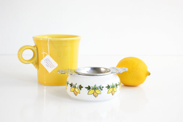 SOLD - Vintage Porcelain & Metal Tea Bag Holder / Retro Lemons Two Piece Tea Strainer