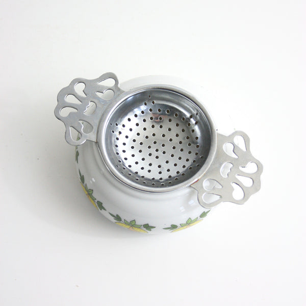SOLD - Vintage Porcelain & Metal Tea Bag Holder / Retro Lemons Two Piece Tea Bag Strainer