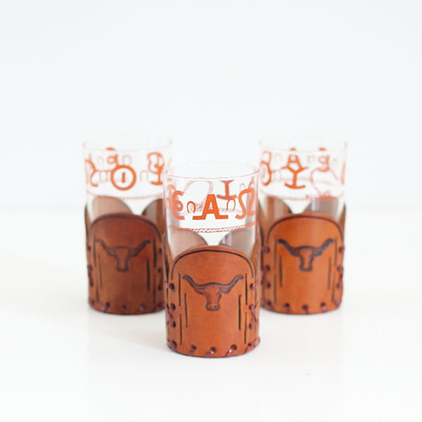 SOLD - Vintage Libbey Westward Ho Glass & Leather Tumblers - Set of Three Glasses