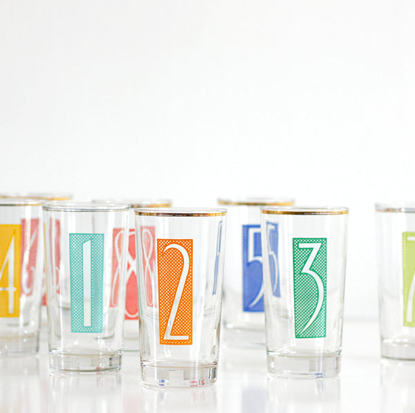 SOLD - Mid Century Modern Numbered Drinking Glasses