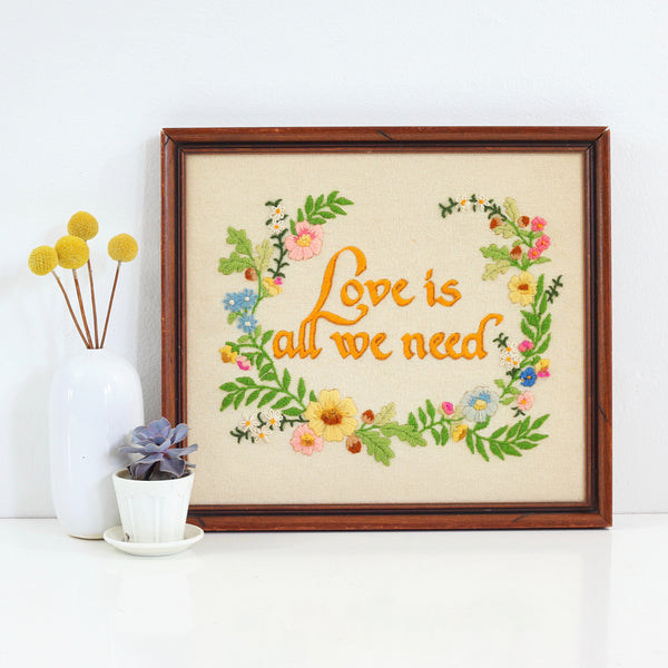SOLD - Vintage 'Love Is All We Need' Crewel Embroidery