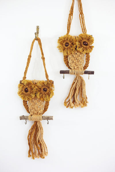 SOLD - Vintage Macrame Owl Wall Hanging