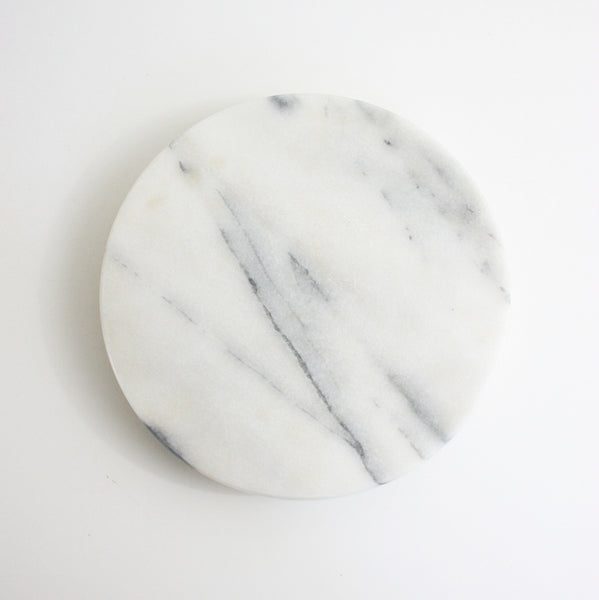 SOLD - Vintage Solid Marble Lazy Susan / Vintage White Marble Tray