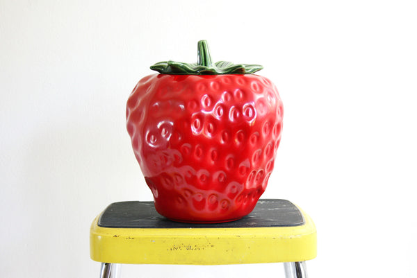 SOLD - Vintage McCoy Strawberry Cookie Jar / Mid Century McCoy Ceramic Fruit Canister
