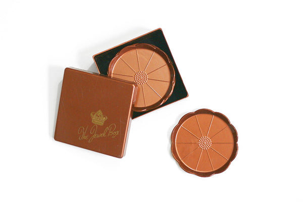 SOLD - Vintage Copper Flower Plastic Drink Coasters and Storage Box - The Jewel Box Coasters by Steeds