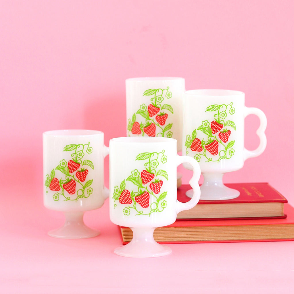 SOLD - Vintage Milk Glass Strawberry Mugs