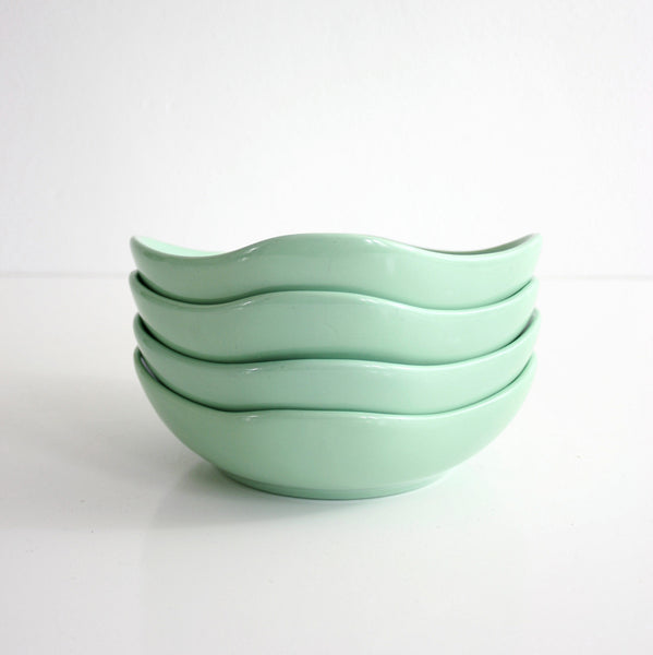 SOLD - Mid Century Modern Mint Green Ceramic Bowls by Hall China USA / Vintage Hall China Bowls