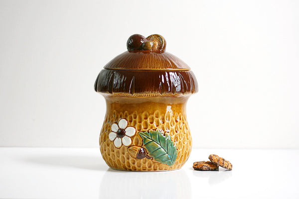 SOLD - Vintage Ceramic Mushroom Cookie Jar / Retro Toadstool Kitchen Canister