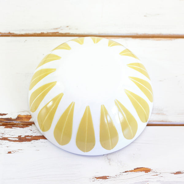 Vintage Cathrineholm Mustard & White Enamel Lotus Bowl