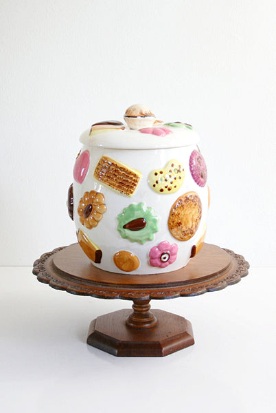 SOLD - Vintage Ceramic Cookies Cookie Jar / Mid Century Napco Cookies All Over Canister