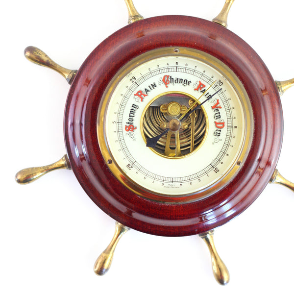 SOLD - Vintage Wood And Brass Nautical Barometer from West Germany