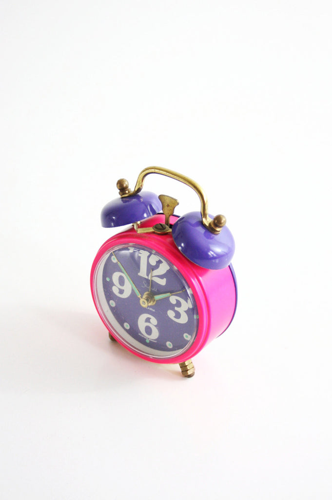 SOLD - Vintage Neon Pink and Purple Sheffield Alarm Clock