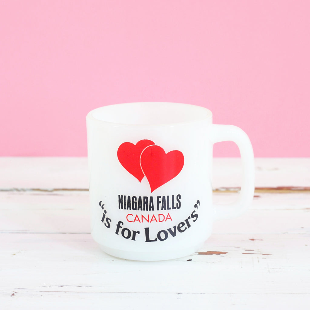 Vintage 'Niagara Falls Canada is for Lovers' Milk Glass Mug by Glasbake