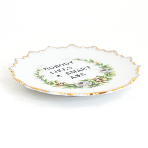 SOLD - Kitschy Vintage Wall Plate - Nobody Likes a Smart Ass