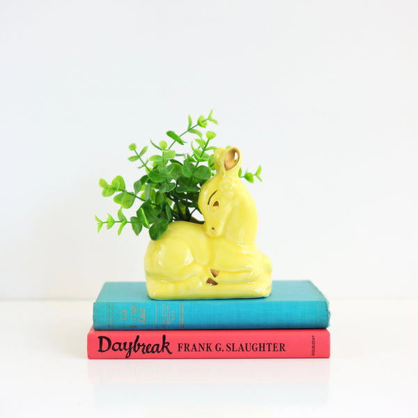 SOLD - Vintage Yellow Ceramic Nor-So Deer Planter