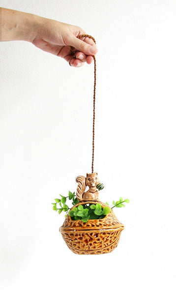 SOLD - Vintage Ceramic Squirrel Hanging Planter / Retro Norcrest Hanging Squirrel Plant Holder