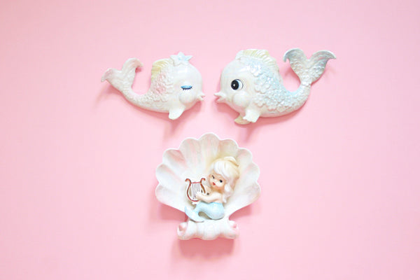 SOLD - Rare Vintage 1950s Ceramic Wall Mermaid and Fish / Vintage Norcrest Bath Decor
