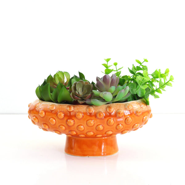 RESERVED - Vintage Orange Ceramic Hobnail Pedestal Planter