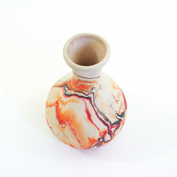 SOLD - Vintage Nemadji Pottery Orange Swirl Vase