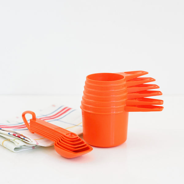 SOLD - Vintage Orange Tupperware Measuring Cups Set