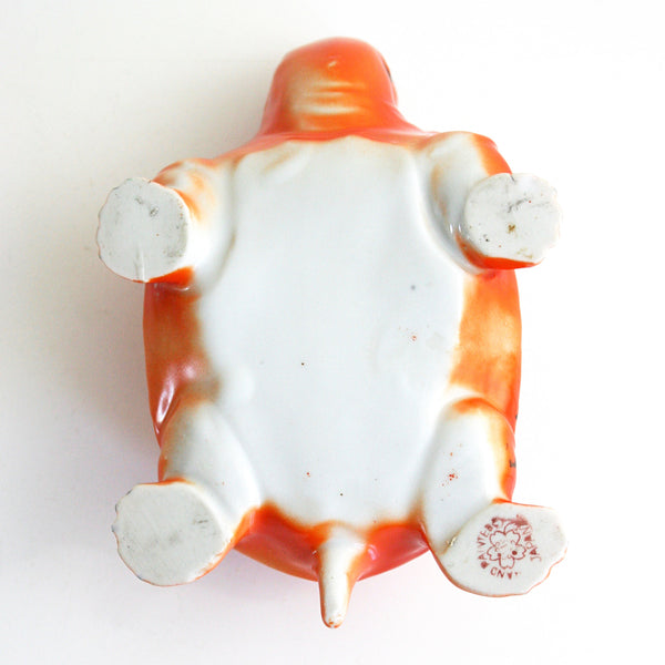 SOLD - Vintage Turtle Planter / Retro Orange Tortoise Planter