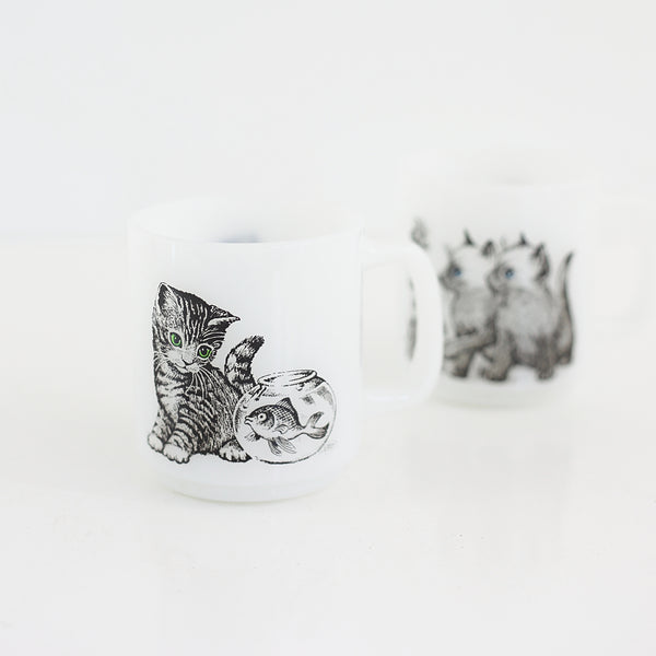 SOLD - Vintage Glasbake Milk Glass Cat Mugs