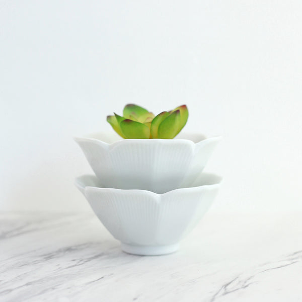 Pair of White Porcelain Lotus Bowls