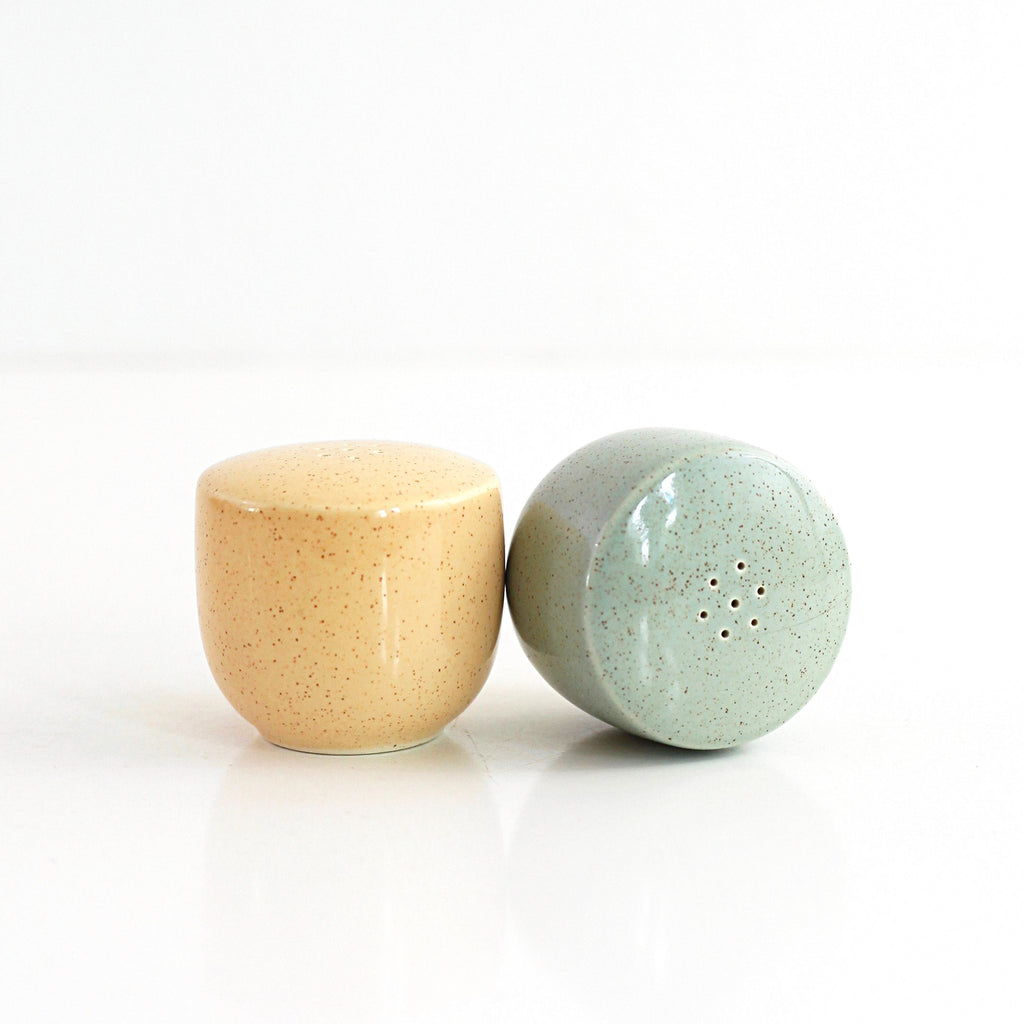 SOLD - Vintage Pastel Pebbleford Salt and Pepper Shakers by Taylor Smith Taylor