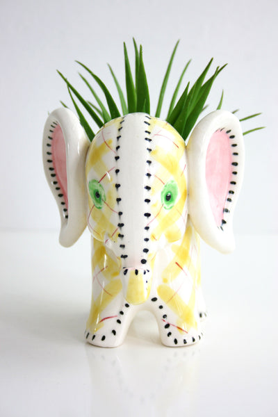 SOLD - Vintage Pastel Plaid Ceramic Elephant Planter