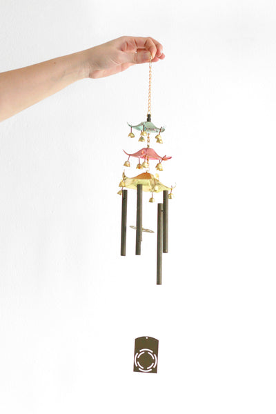 SOLD - Vintage Pastel Pagoda Asian Wind Chimes