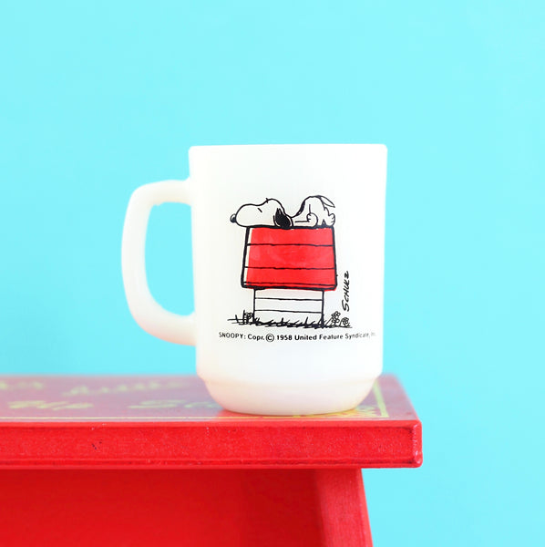 SOLD - Vintage 1958 Fire King Peanuts Mug - I think I'm allergic to morning!