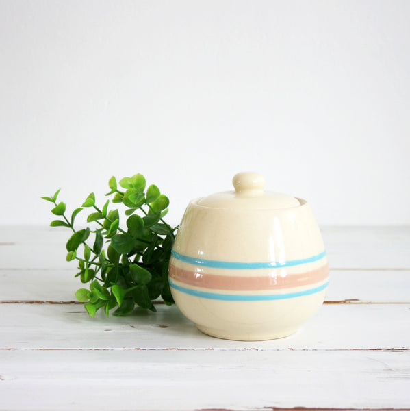 SOLD - Vintage McCoy Sugar Bowl / McCoy Pink and Blue Stripe Stonecraft Sugar Bowl with Lid