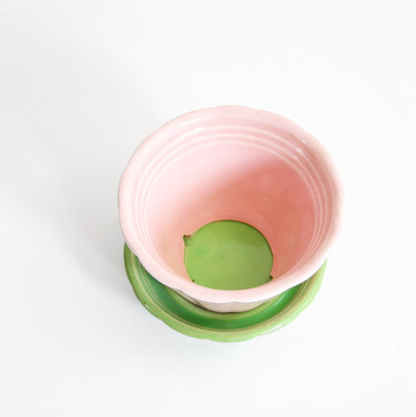 SOLD - Vintage Pink and Green Shawnee Planter With Saucer