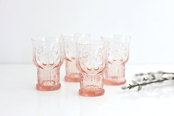 SOLD - Vintage Pink Country Garden Flower Glasses by Libbey / Vintage Colored Glassware