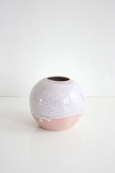 SOLD - Mid Century Modern Wizard of Clay Soft Pink Drip Glaze Ceramic Vase