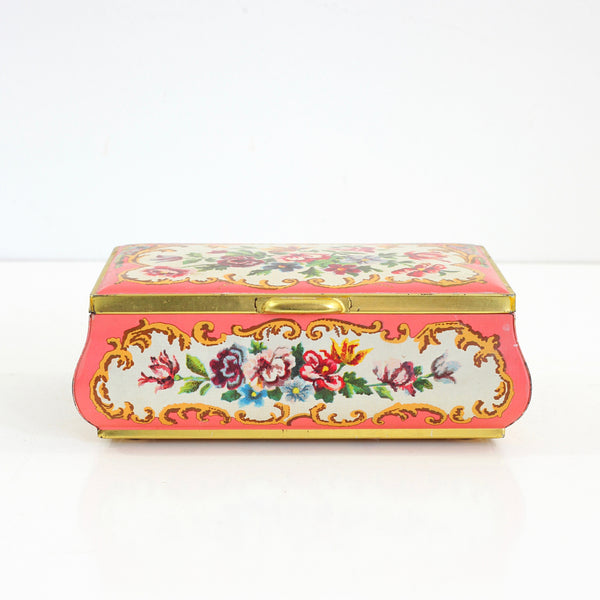 SOLD - Vintage Pink Floral Tin from Holland
