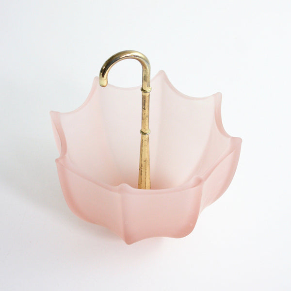 SOLD - Vintage Pink Glass Umbrella Bowl / Vintage Frosted Glass Umbrella Dish
