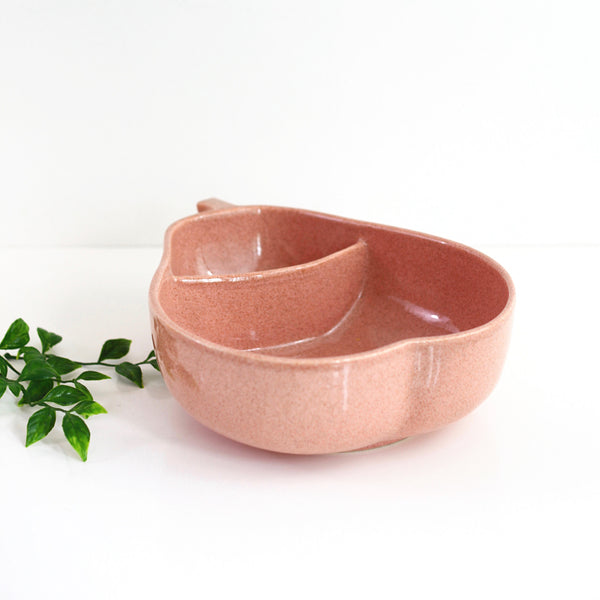 SOLD - Mid Century Pink Ceramic Divided Pear Bowl by Pfaltzgraff
