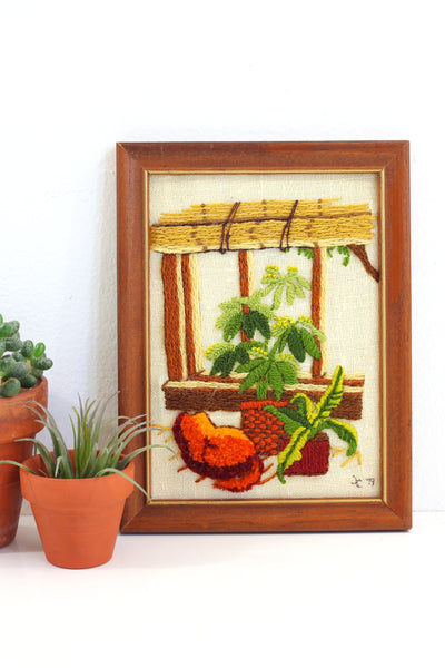 SOLD - Vintage Plants & A Cat Crewel Embroidery