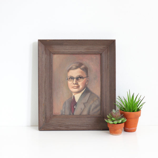 Vintage Framed Portrait Painting - Man With Glasses
