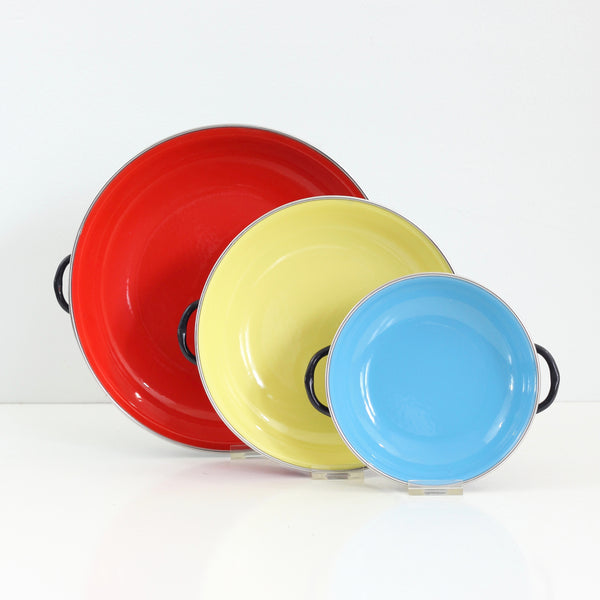 SOLD - Colorful Vintage Enamel Paella Pans