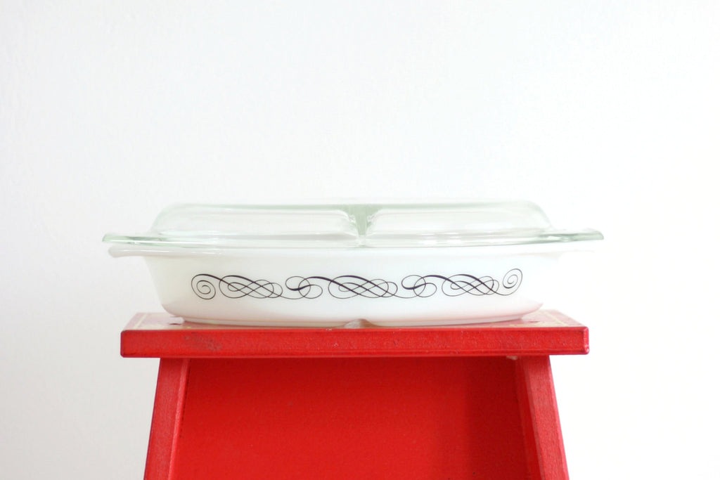SOLD - Vintage Pyrex Black Scroll Divided Casserole Dish