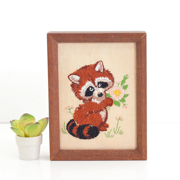 SOLD - Vintage Raccoon Crewel Embroidery