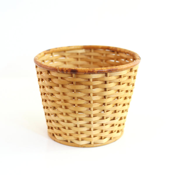 SOLD - Vintage Rattan Tripod Plant Stand with Wicker Basket