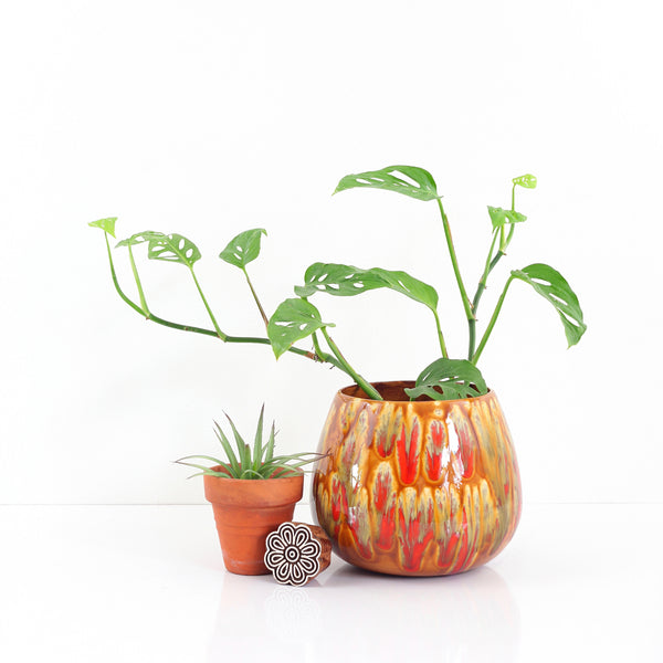 RESERVED Until 2/29 -- Vintage Caramel & Tomato Red Drip Glaze Planter