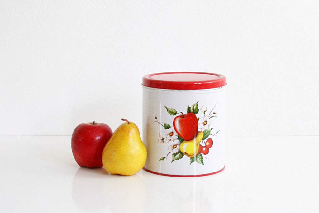 SOLD - Vintage Decoware Fruit Kitchen Canister / Vintage Red and White Kitchen Tin